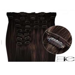 Extensions de cheveux à clips synthétiques châtain foncé extra volume 50 cm en vente sur elite-extensions.fr