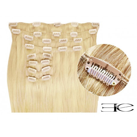 Extensions de cheveux à clips synthétiques blond clair extra volume 50 cm en vente sur elite-extensions.fr