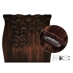 Extensions de cheveux à clips synthétiques chocolat extra volume 50 cm en vente sur elite-extensions.fr