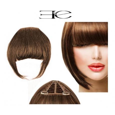 Frange à clips N8 chatain cheveux 100 % naturels en vente sur elite-extensions.fr