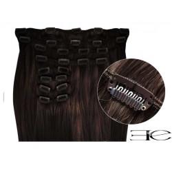 Extensions à clips cheveux synthétiques chatain foncé extra volume 63 cm  en vente sur elite-extensions.fr