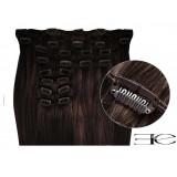 Extensions à clips cheveux synthétiques chatain foncé extra volume 63 cm