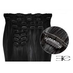 Extensions à clips cheveux synthétiques noir extra volume 63 cm  en vente sur elite-extensions.fr