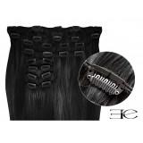 Extensions à clips cheveux synthétiques noir extra volume 63 cm
